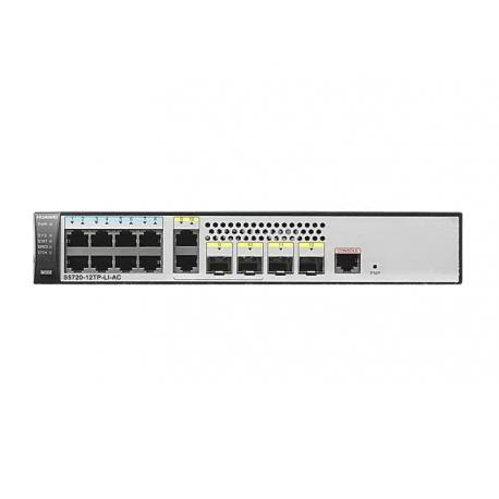 S5720-12TP-LI-AC - Switch manageable niveau 3 simplifié, 8 ports 10/100/1000Base-TX, 2 ports Combo, 2 emplacements SFP