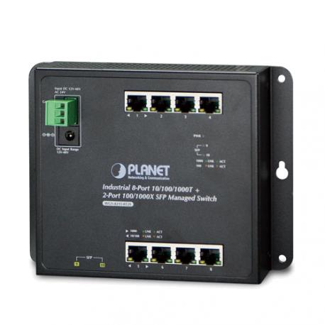 WGS-4215-8T2S - Switch industriel IP30 manageable L2+ 8 ports Gigabit Ethernet & 2 ports SFP, montage sur mur