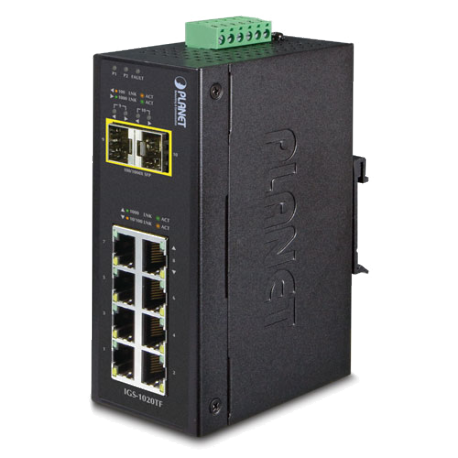 IGS-1020TF - Switch industriel IP30 Plug & Play 8 ports Gigabit Ethernet & 2 emplacements SFP, température étendue
